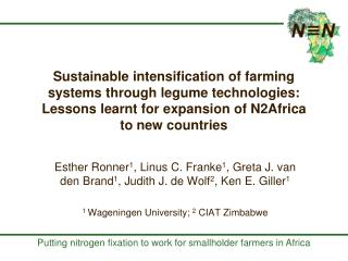 Sustainable intensification of farming systems through legume technologies: Lessons learnt for expansion of N2Africa  to