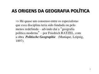 AS ORIGENS DA GEOGRAFIA POL TICA