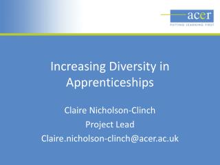 Increasing Diversity in Apprenticeships