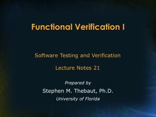 Functional Verification I