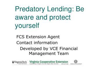 Predatory Lending: Be aware and protect yourself