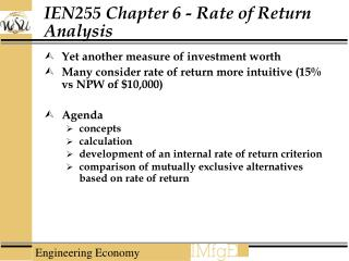 IEN255 Chapter 6 - Rate of Return Analysis