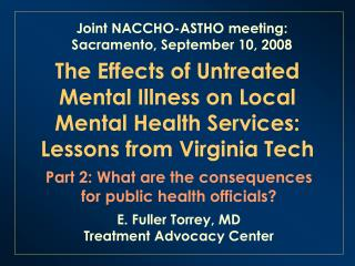 The Effects of Untreated Mental Illness on Local Mental Health Services: Lessons from Virginia Tech