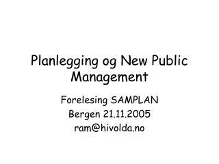 Planlegging og New Public Management