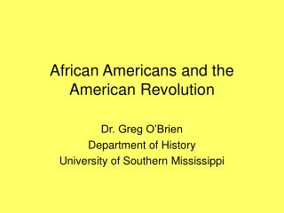 African Americans and the American Revolution