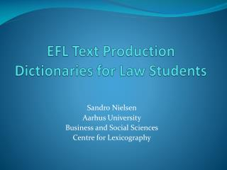 EFL Text Production Dictionaries for Law Students