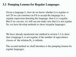 3.2  Pumping Lemma for Regular Languages