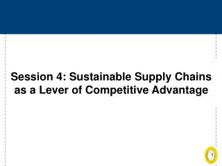Session 4: Sustainable Supply Chains as a Lever of Competitive Advantage