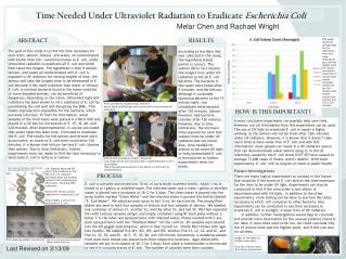 Time Needed Under Ultraviolet Radiation to Eradicate Escherichia Coli