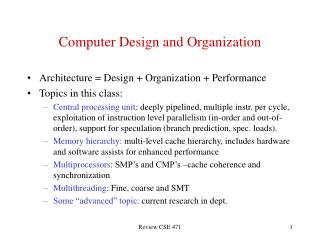 Computer Design and Organization