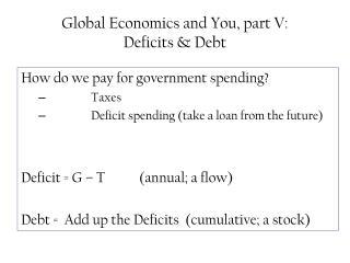Global Economics and You, part V:  Deficits  Debt