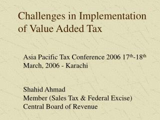 Challenges in Implementation of Value Added Tax