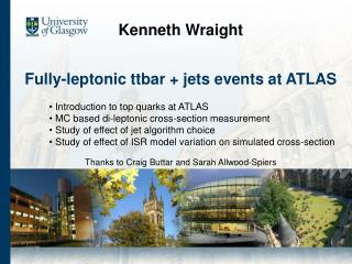 Fully-leptonic ttbar  jets events at ATLAS