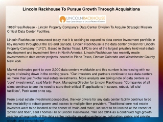 Lincoln Rackhouse To Pursue Growth Through Acquisitions