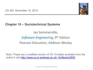 Chapter 10   Sociotechnical Systems