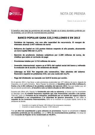 Angel ron junto a banco popular ganan 325,3 millones € en 20