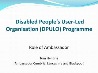 Disabled People s User-Led Organisation DPULO Programme