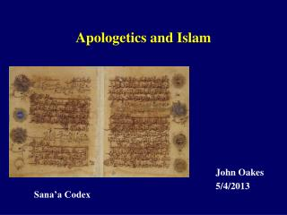 Apologetics and Islam