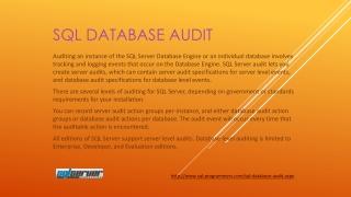 SQL Database Audit