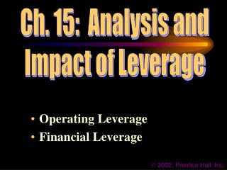 Operating Leverage Financial Leverage