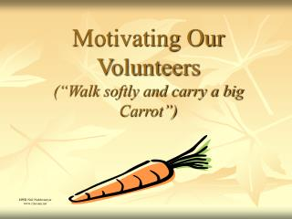 Motivating Our Volunteers  Walk softly and carry a big Carrot