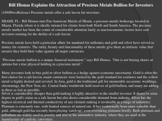 bill hionas explains the attraction of precious metals bulli