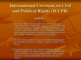 International Covenant on Civil and Political Rights ICCPR