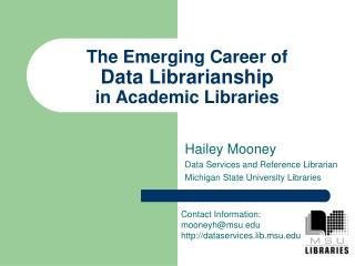 The Emerging Career of Data Librarianship  in Academic Libraries