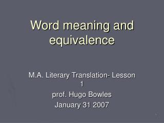 Word meaning and equivalence