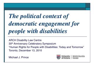 The political context of democratic engagement for people with disabilities