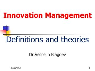 Innovation Management   Definitions and theories