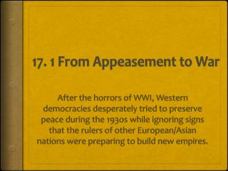 17. 1 From Appeasement to War