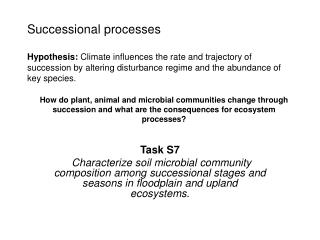 Successional processes   Hypothesis: Climate influences the rate and trajectory of succession by altering disturbance re