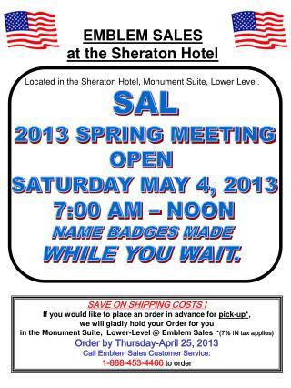 EMBLEM SALES at the Sheraton Hotel