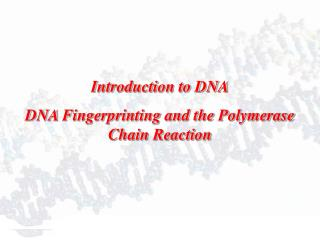 Introduction to DNA DNA Fingerprinting and the Polymerase Chain Reaction