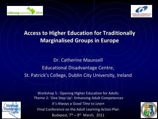 Access to Higher Education for Traditionally Marginalised Groups in Europe
