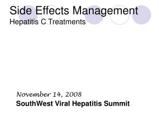 Side Effects Management Hepatitis C Treatments