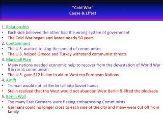 Cold War   Cause  Effect
