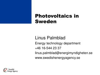 Photovoltaics in Sweden