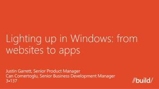 Lighting up in Windows: from websites to apps