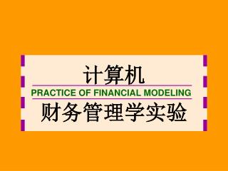 PRACTICE OF FINANCIAL MODELING