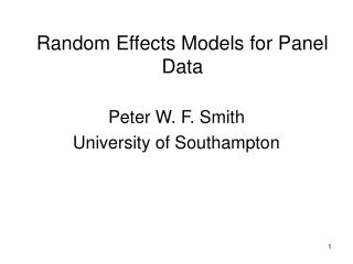 Random Effects Models for Panel Data