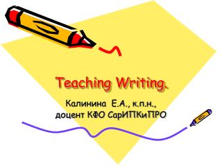 Teaching Writing.