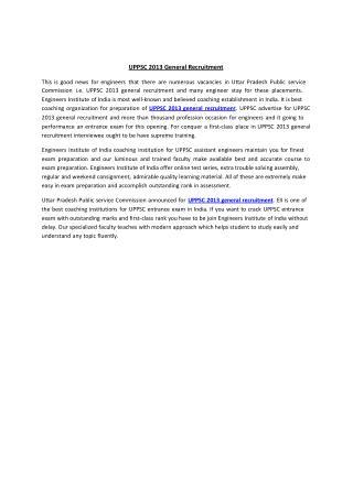 UPPSC 2013 general recruitment
