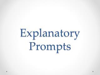 Explanatory Prompts