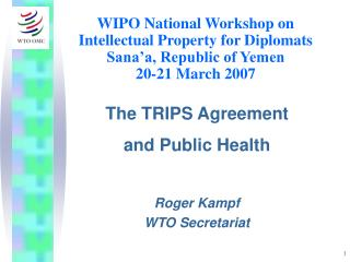 WIPO National Workshop on Intellectual Property for Diplomats Sana a, Republic of Yemen 20-21 March 2007