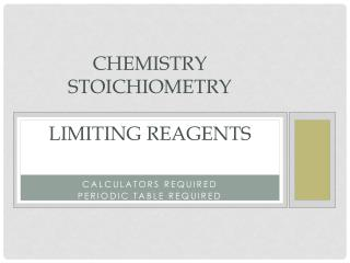Chemistry stoichiometry  LIMITING REAGENTS
