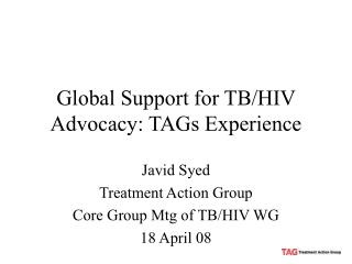 Global Support for TB