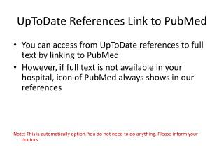UpToDate References Link to PubMed