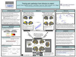 Tracing pain pathways from stimulus to report Lauren Y. Atlas1, Matthew Davidson1, Niall Bolger1, Kate Dahl1, Martin Lin